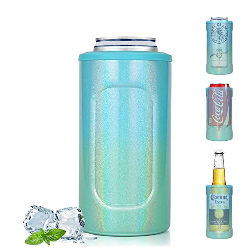 NIXIUKOL 4-IN-1 Insulated Can Cooler, Insulator for 12 Ounce Standard/Tall Skinny Slim Cans, 12 Oz Beer Bottles, Double-Walled Stainless Steel, for Women/Men (Blue-Green Gradient)