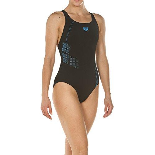 arena Damen Sport Badeanzug Shadow (Schnelltrocknend, UV-Schutz UPF 50+, Chlorresistent, Ergonomisch), Black-Turquoise (508), 44