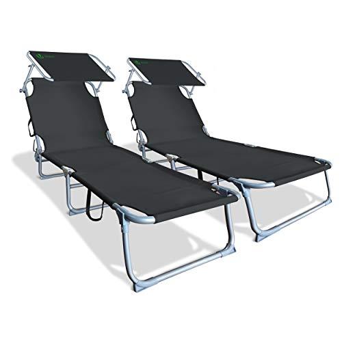 Lot de 2 Chaise Longue Bain de Soleil avec Pare Soleil | Transat Pliable avec Parasol | Bain De Soleil inclinable en Polyester | Charge Max 110KG | Chaise Longue réglable Noir