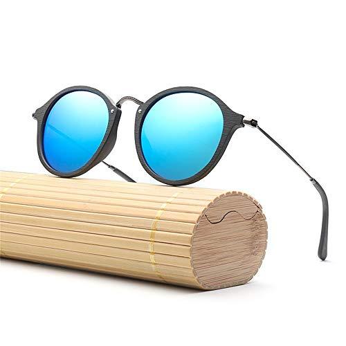 Rongjuyi dames en heren mode houten handmake Moda zonnebril gepolariseerd vintage retro frame kleine poten zin bord hout imitatie grano zonnebril brilmontuur Rotonda