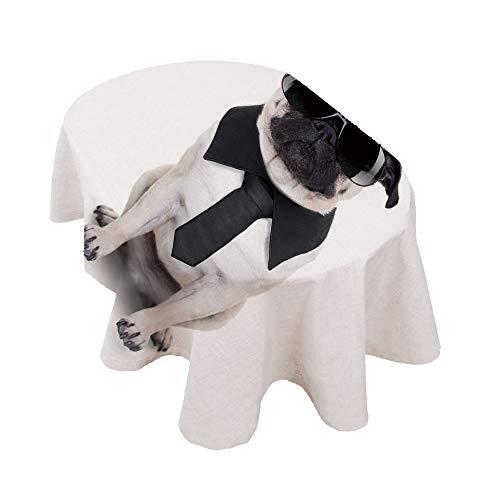 Mantel ovalado para perro con diseño de pug, diseño de perro y...