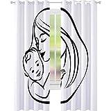 YUAZHOQI - Cortina opaca para madre con su bebé, diseño estilizado, símbolo de maternidad, amor, cortinas personalizadas, 132 x 274 cm