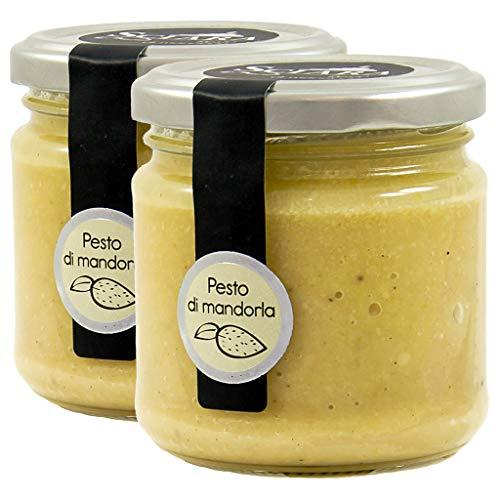 SCIARA - 2x Pesto di Mandorla al 60%. Per condire primi piatti, secondi e bruschette. Senza Glutine e Uova - 2 pezzi X 190g