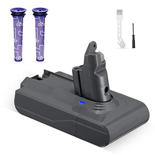 Powerextra 3.5Ah Batterie Remplacement 21.6V Compatible avec V6 - Animal SV03 SV04 SV05 SV06 SV07 SV09 DC58 DC59 DC61 DC62 DC72 DC74-2 filtres lavables, une brosse et un tournevis