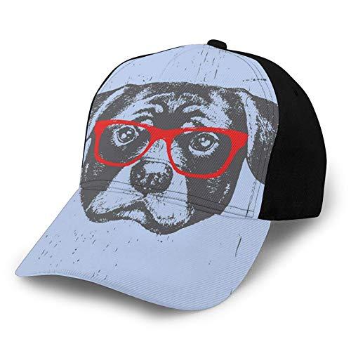 Sombrero de béisbol para el sol de Hip Hop, divertido retrato de perro lindo e hipster con gafas imagen pescador sombrero de playa protección solar púrpura para hombres y mujeres
