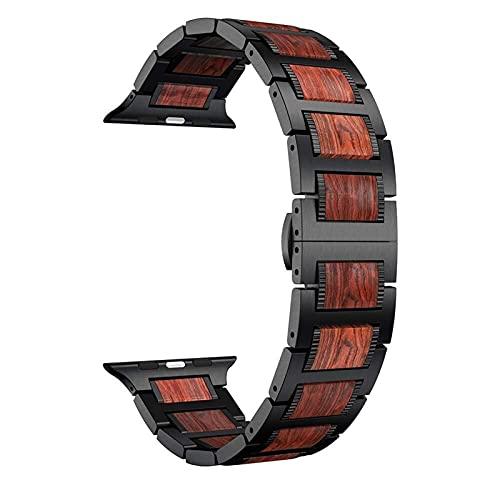 HPTQJ La Correa de Madera de la Pulsera, sándalo Rojo Natural + Acero Inoxidable, fácil de Instalar y reemplazar la Correa Regalo cálido (Color : Black, Size : 38mm 40mm)