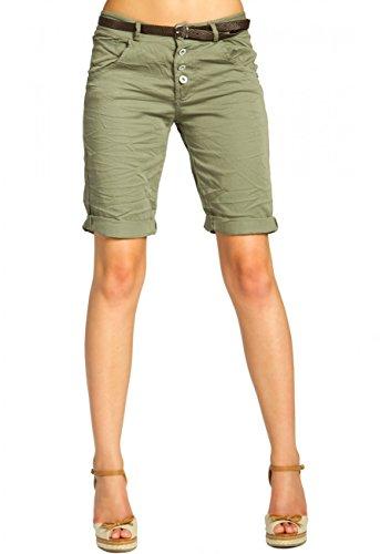 Caspar BST005 Damen Baumwoll Chino Shorts, Farbe:Oliv grün, Größe:XL - DE42 UK14 IT46 ES44 US12