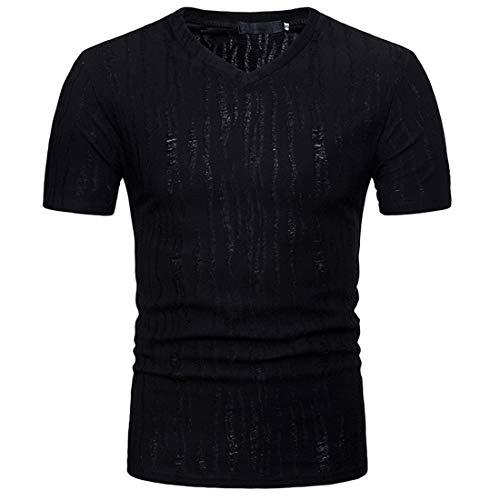 Tshirt Hombre Estiramiento Cuello Redondo/Cuello En V Hombres Manga Corta Verano Slim Fit Hombres Camiseta Deporte Casual Transpirable Fitness Hombres Camisa Deportiva G-Black2 XL