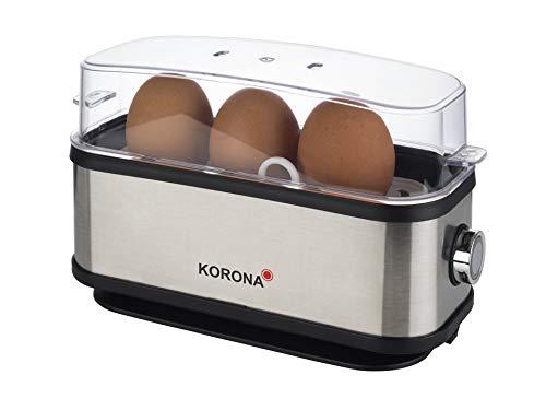 Korona 25304 Eierkocher | 1 bis 3 Eier | Single - Eierkocher | 210 Watt | Edelstahlgehäuse | Kabelaufwicklung
