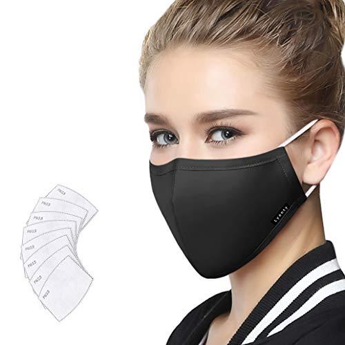 Lyanty Maschera antinquinamento Maschera protettiva Maschere per la bocca in cotone lavabili (una maschera + 8 filtri) -Nero