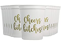 """STYLISH DESIGN - Our package contains 12 """"Cheers Bitches!"""" Cups! Perfect to post on Instagram and Snapchat! PERFECT CHOICE- Each cup has a decorative WHITE and GOLD """"Cheers Btiches!"""" On BOTH sides! DURABLE & REUSABLE - Want to use these cups on more ..."""
