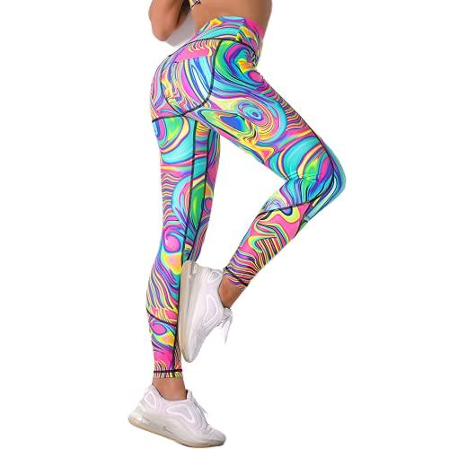 QTJY Pantalones de chándal de arcoíris Pantalones de Yoga de Fitness Hermoso Color Estiramiento Ejercicio Fitness Leggings Cintura Alta Pantalones de Yoga de Cadera B XL