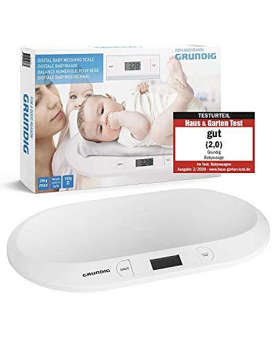 GRUNDIG Báscula digital para bebés hasta 20 kg, pantalla LED digital, control del peso desde el nacimiento, pantalla LCD, función de tara, alta precisión, apagado automático (blanco)