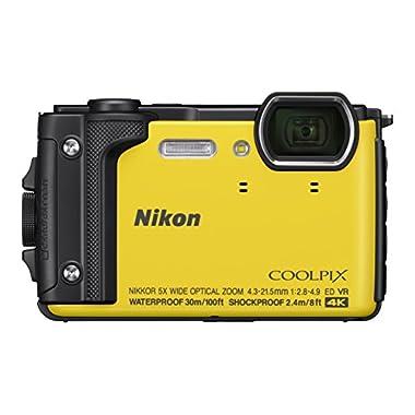 Nikon W300 Waterproof Underwater Digital Camera with TFT LCD, 3 , Yellow (26525)