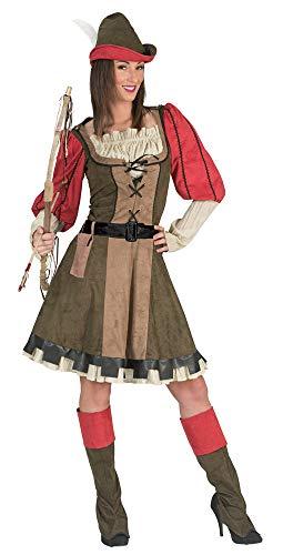 Das Kostümland Lady Marian Robin Hood Kostuum voor Vrouwen - Groen Rood - Mardi Gras Thema Party Kostuum, Size 12-14, Rood