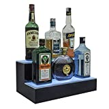 Lighted Liquor Bottle Display with Lighted Coasters 16 inch Mini Two Tier Shelf Display for Home bar with Multicolored LED Lights