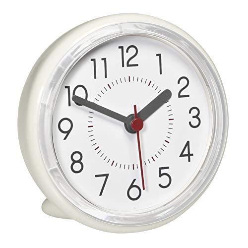TFA Dostmann Analoge Uhr, 60.3055.02, für das Badezimmer, wasserabweisend, ohne Bohren befestigbar, cremeweiß, L115 x B65 x H140 mm