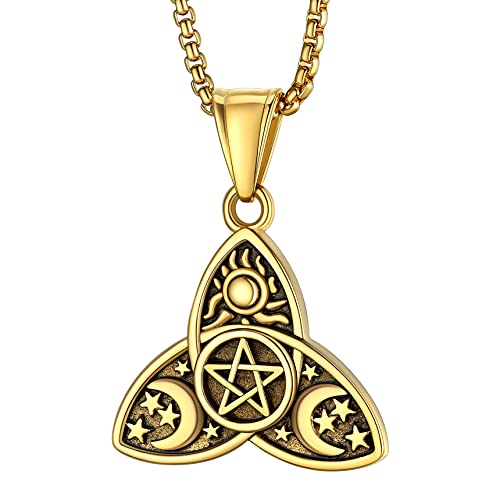Bestyle Women Vintage Triple Moon Goddess Pendant 18K Gold Plated Celtic Knot Pentacle Necklace Pagan Wicca Gold Amulet Jewelry ,Solid Gold Bead Chain with Strong Lobster Claw, Send Gift Box