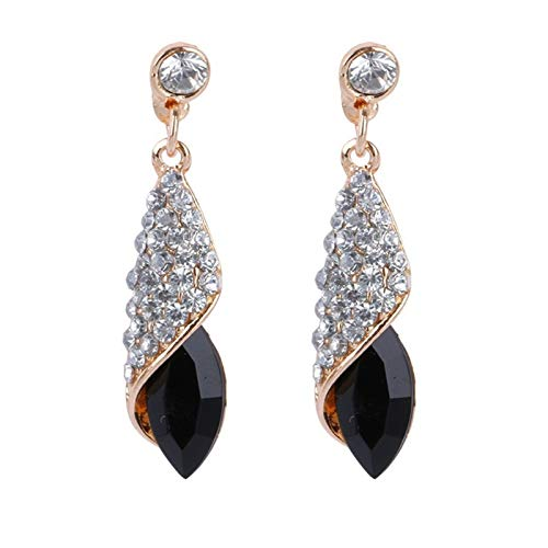 4 Colors Girls Vintage Earrings Women Crystal Water Drop Pierced Dangle Earrings (Metal Color : Black)
