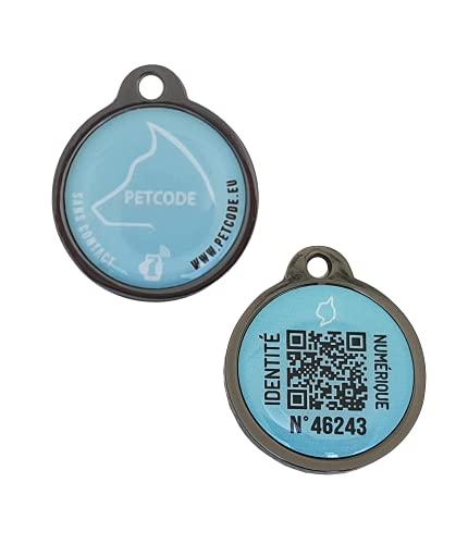 PETCODE - Medalla de identificación modelo INKYA azul de 30 mm – Medalla conectada para collar perro.