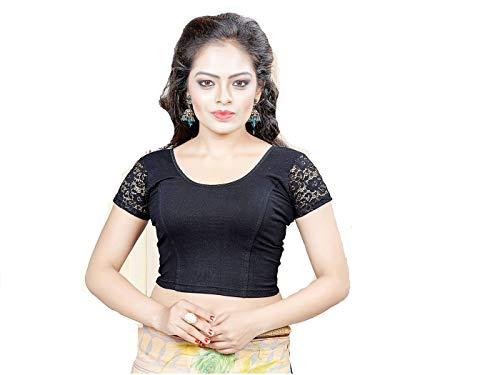 Indianstore24 Fertige, Free Size Saree Blouse, Blusen, Bollywood, Sari, Goa, Indien, Hochzeit, Kleid, Oberteil, Party,101 (Black)