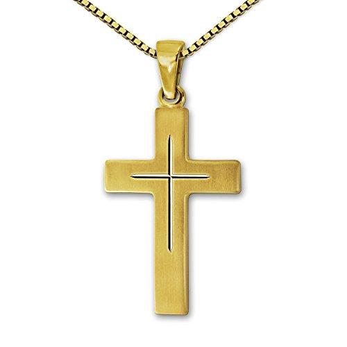 Clever Schmuck Set gouden hanger kruis 22 mm zijdemat met fijn binnenkruis glanzend gediamanteerd 333 goud 8 karaat en vergulde ketting Venezia 42 cm in etui