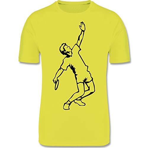 Sport Kind - Badminton Aufschlag - 128 (7/8 Jahre) - Neon Gelb - Tennis - F350K - atmungsaktives Laufshirt/Funktionsshirt für Mädchen und Jungen