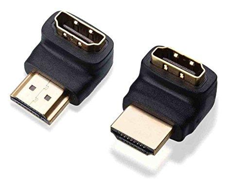 C63® PB4231 [Twin Pack] 90 + 270 graden HDMI Bend Kit/Vergulde Connector Set. Snelle 1.4 versie High Speed met Ethernet Gold Connectors