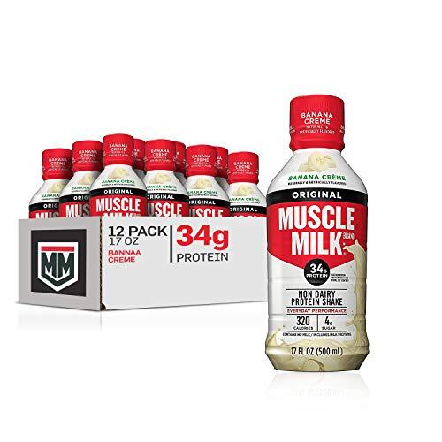 Muscle Milk Original Protein Shake, Banana Crème, 34g Protein, 17 FL OZ, 12 Count