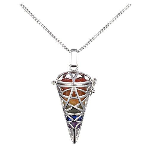 Collar con colgante hexagonal de 7 chakras con piedras preciosas de chakra, joyería de péndulo de cristal de curación de energía Reiki (forma de cono)