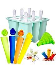 Moldes para Helados de Silicona, Reutilizable Molde para Hacer paletas para Hacer Helados, 11 Pack Juego de Moldes para Polos-6 Moldes de Helado, 4 Moldes para Polos, 1Plegable Embudo, Libres de BPA