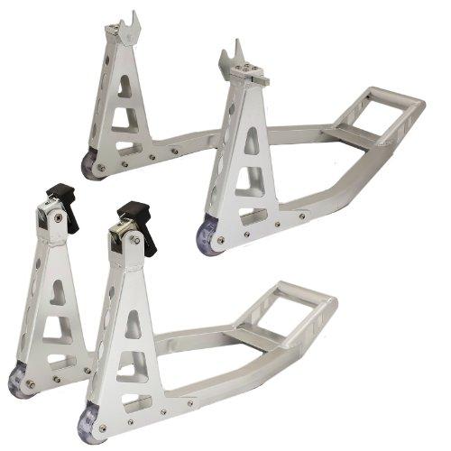 Ryde Vorder- und Hinterrad-Montageständer aus Aluminium für Motorrad - Silber
