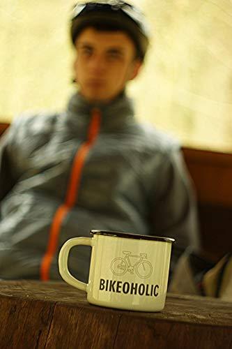 Emaille Mok 10oz Metalen Kamp Mok Mountainbike Mok Bike Gift Aangepaste Gegraveerde Persoonlijke Beker Emaille Mok (Zwarte Rand)
