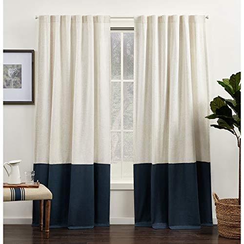 Exclusive Home Curtains Venice Color Block Light Filtering Hidden Tab Top Curtain Panels, 54x96, Indigo