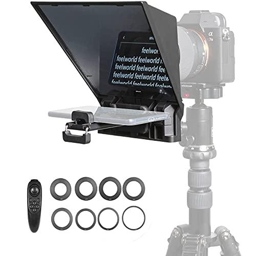 FEELWORLD テレプロンプター 携帯型テレプロンプター 動画撮影用 ミニプロンプター テレプロンプター スマートフォン/iPad/DSLRカメラ に対応 YouTube/インタビュー/ビデオ録画用