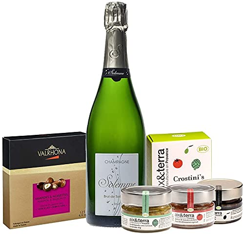 Gourmet Feinkost Geschenkbox aus Frankreich - 1 Flasche Winzer Champagner Brut mit BIO Aperitif aus der Provence und Schokoladen-Bonbons von Valrhona