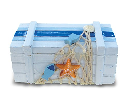 Puzzled Small Light Blue Striped Wood Jewelry Box, 5 x 2.5' Handcrafted Hinged Lid Starfish Fishes Decorations Keepsake Organizer or Gift Box for Rings, Necklaces & Trinkets - Nautical Marine Life Bea