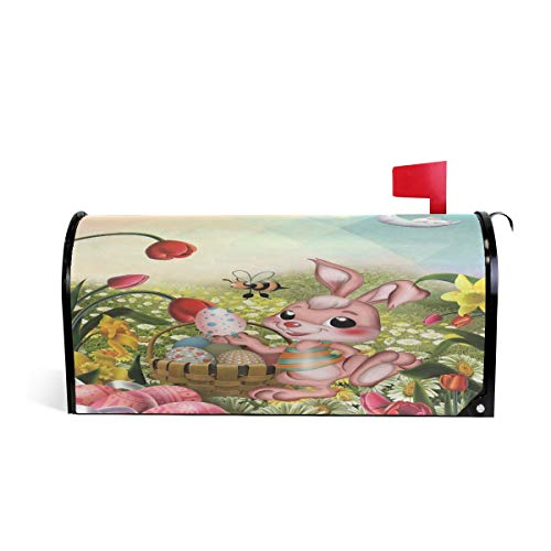 Wamika Happy Easter Bunny Flower Boîte aux Lettres aimantée pour boîte aux Lettres Motif Lapin de Pâques Coloré Oeufs Abeille 52.6x45.8cm Multicolore
