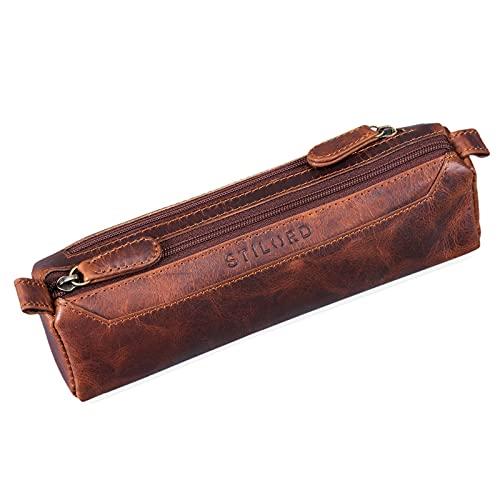 STILORD 'Jim' Estuche o Bolsa para lápices y bolígrafos de Cuero Portatodo Escolar Redondo para Hombres y Mujeres Cartuchera de Piel auténtica, Color:Kara - Cognac