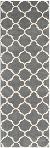 Safavieh Geometrisch gemusterter Teppich Dunkelgrau / Elfenbein 68 X 152 cm
