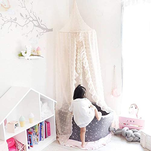 Kids Bed Canopy Mosquito Net Princess Canopy for Girl Baby Bed, Round Dome Hanging Yarn Play Tent Bedding Unique Lace Netting Curtain Reading Nook Nursery Bedroom Indoor Game House Decor Beige