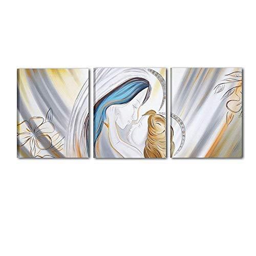 Cuadros cabecero pintados a mano marrón para cama Virgen con Niño listo para colgar Dormitorio alta calidad, 'Made in Italy - Celestiale 2