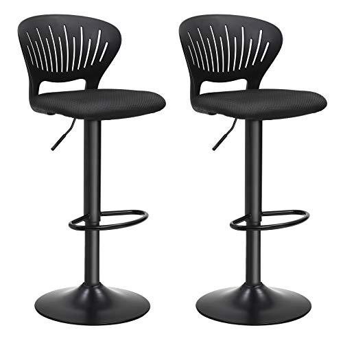 SONGMICS Barhocker 2er Set,Barstuhl höhenverstellbaremit kronenförmiger Rückenlehne, um 360° drehbar, bequemgepolsterter Sitz, Küche, Bar, Schwarz LJB04BK