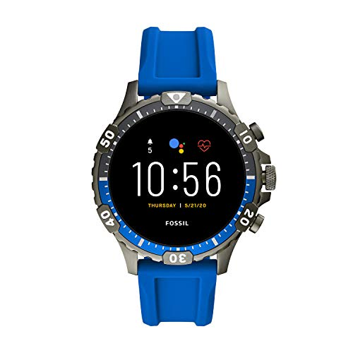 Fossil Unisex 46MM Gen 5 Garrett HR Heart Rate Stainless Steel and Silicone Touchscreen Smart Watch, Color: Blue (Model: FTW4042)