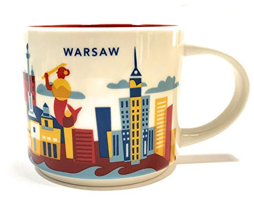 Starbucks City Mug You Are Here Collection Warsaw Poland Coffee Cup Warschau Kaffeetasse (weiß/rot)