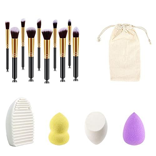 Shading Lot de 10 pinceaux de maquillage noirs et dorés - Coupe oblique - Pour le quotidien