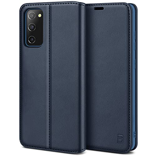 BEZ Handyhülle für Samsung Galaxy S20 FE 5G Hülle, Premium Tasche Kompatibel für Samsung S20 FE 5G, Tasche Hülle Schutzhüllen aus Klappetui mit Kreditkartenhaltern, Ständer, Magnetverschluss, Marine