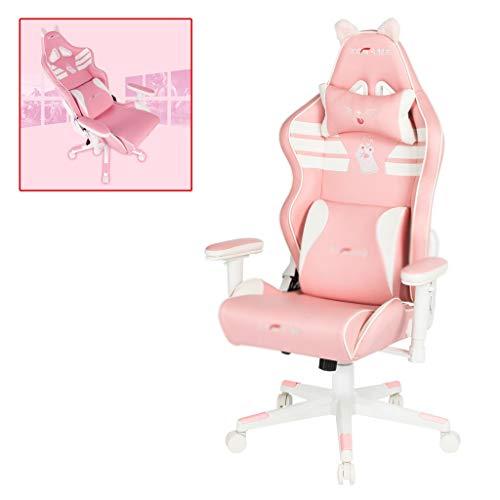 Sedie Arredamento Computer Sedia Rosa Gaming for Adulti Ufficio Ufficio con Le Braccia e Schienale, braccioli di Sollevamento scrivania (Color : Pink, Size : 70 * 70 * 125cm)