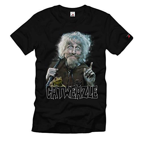 Catweazle Fernsehserie 70er Zauber Retro Kult Catwiesel Serie TV T-Shirt#32551, Farbe:Schwarz, Größe:Herren XL