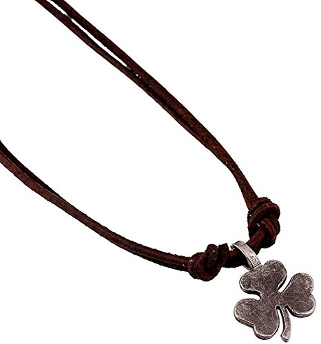 Hamoery Men Punk Alloy Leather Clover Chain Pendant Necklace(Silver)